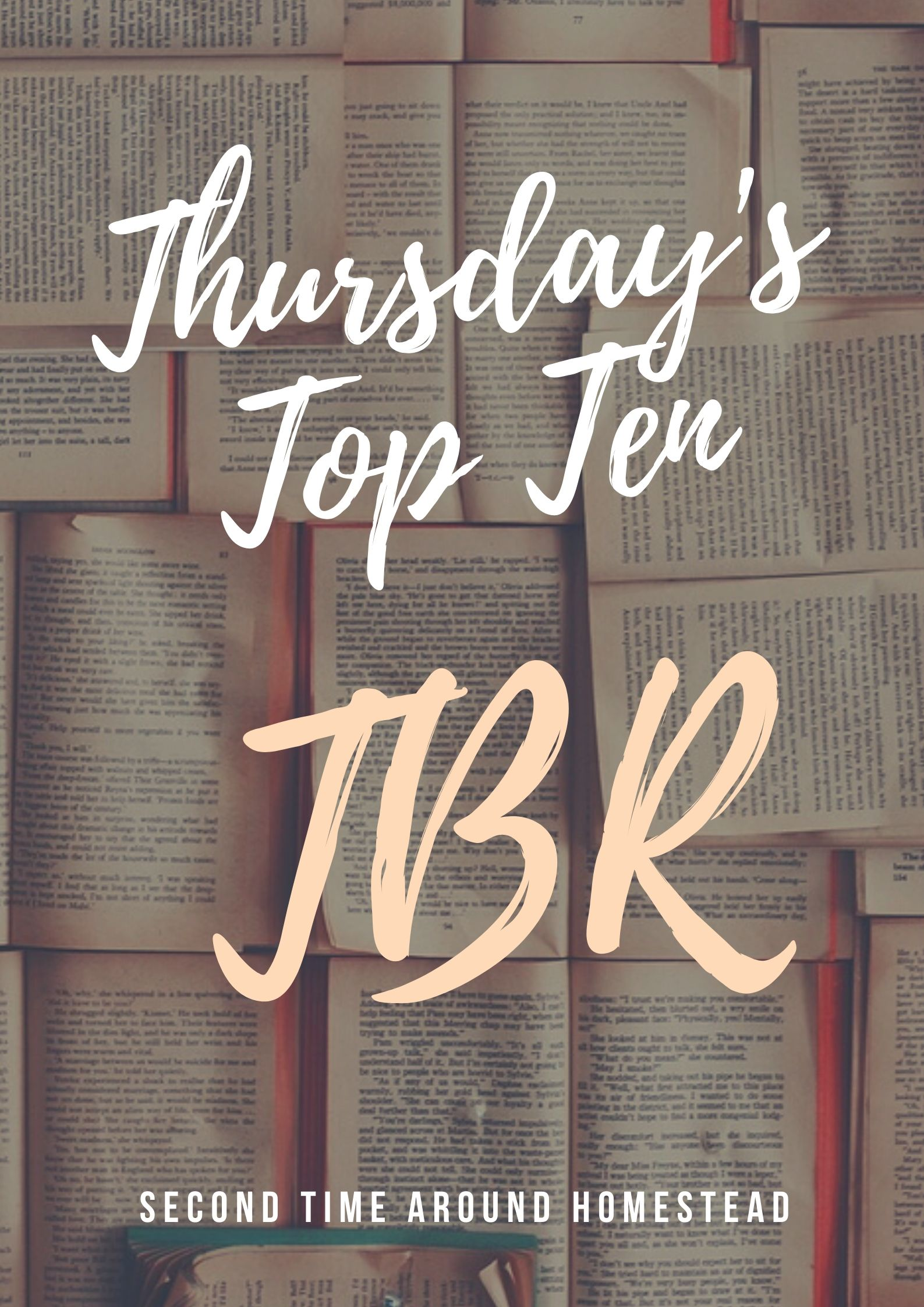 faded book background with the title of Thursday's Top Ten TBR