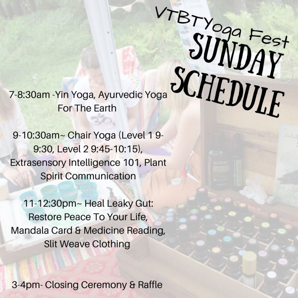 Sunday schedule of events from Yin Yoga to Closing Ceremony and raffle.