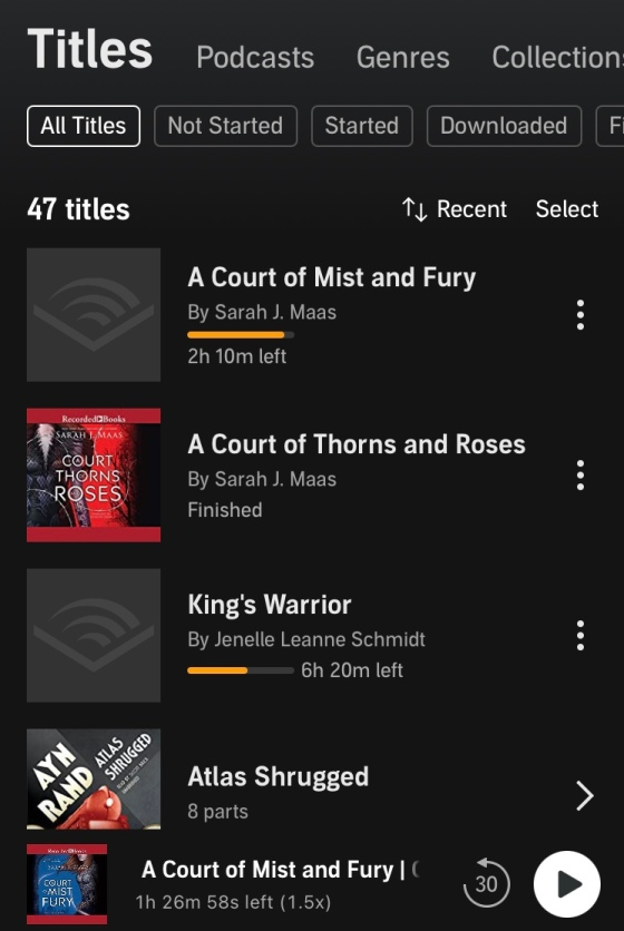 library screen of my audible account